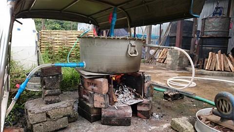 ミャンマー農場 殺菌釜(注湯ボイラー)を改良しました。